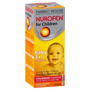 Buy Nurofen For Children & Babies Strawberry Ibuprofen Liquid 200ml Online UK Next Day Delivery Colour Free Pain Fever Sugar Free Nurofen For Children Mg Sachets