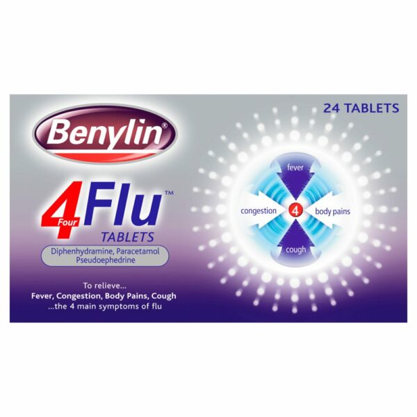 Buy Benylin 4 Flu Tablets Online UK Next Day Delivery Review Dosage Ingredients
