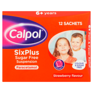 Buy Calpol Six Plus Sugar Free Suspension, 12 Sachets, 5ml UK Next Day Delivery