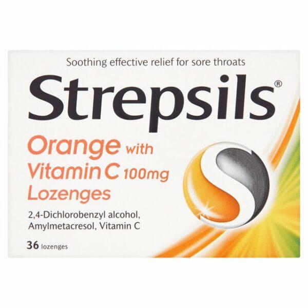 Buy Strepsils Orange With Vitamin C Lozenges Online Next Day Delivery Ingredients 100mg