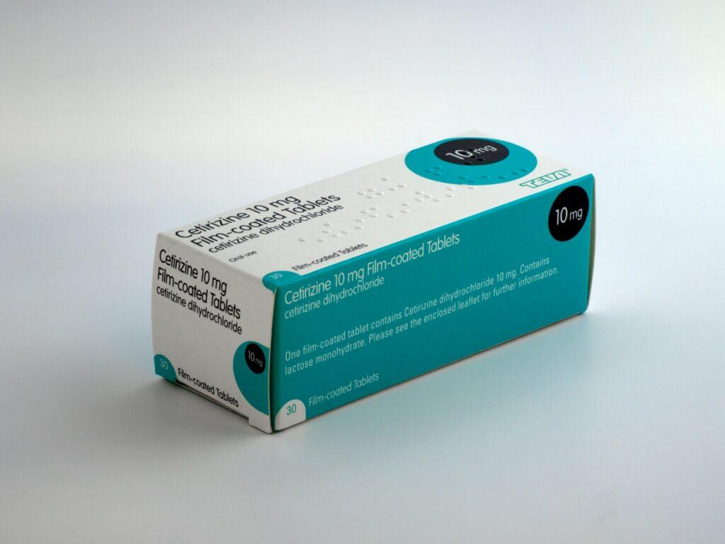Cetirizine tablet box.